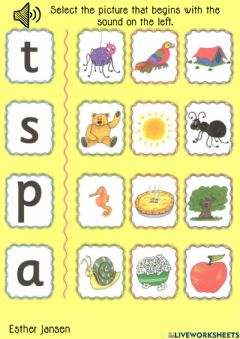 Ficha interactiva Jolly Phonics: Select the picture that begins with the sound on the left