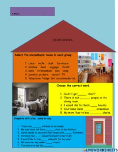 Interactive worksheet Quantifiers and Furniture