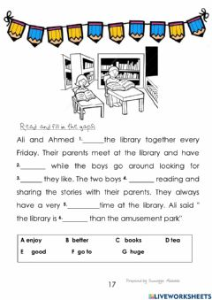 Interactive worksheet In the library