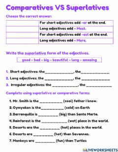 Interactive worksheet Comparatives Vs Superlatives
