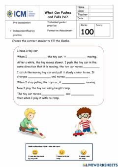 Interactive worksheet What can Pushes and Pulls Do?