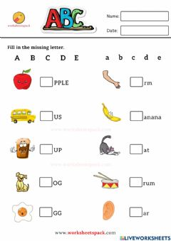 Interactive worksheet Fill in the missing letter worksheets A to E