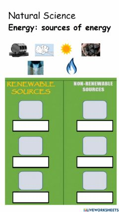 Interactive worksheet Sources of energy
