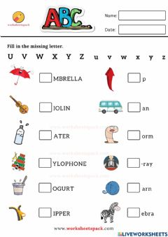 Interactive worksheet Fill in the missing letter worksheets U to Z
