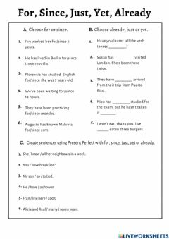 Interactive worksheet Present Simple with Just, Yet, Already, For, and Since