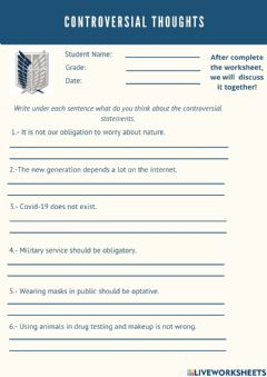 Interactive worksheet Controversial thoughts
