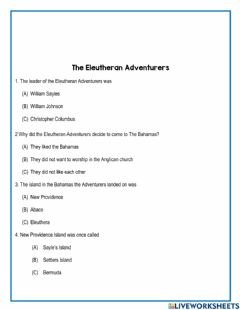Interactive worksheet The Eleutheran Adventurers