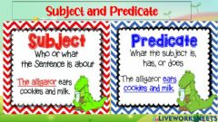Interactive worksheet Lesson 1:grammar: subject and predicate