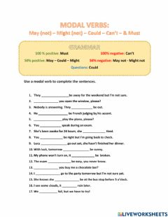 Ficha interactiva Modal Verbs (Must, can't, may, might, could)