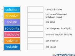 Interactive worksheet Solute solvent solution