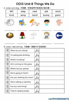 Interactive worksheet ODI3 Unit 8 Listening and Oral practice