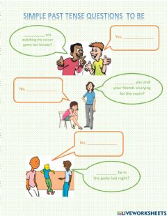 Ficha interactiva Simple past tense questions to be