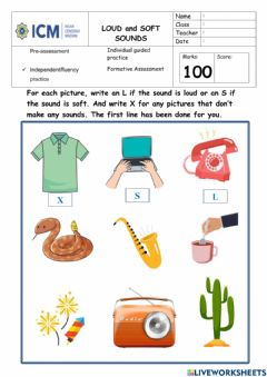 Interactive worksheet Loud and Soft Sounds