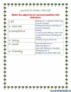 Interactive worksheet Personal qualities for Jungle challenge