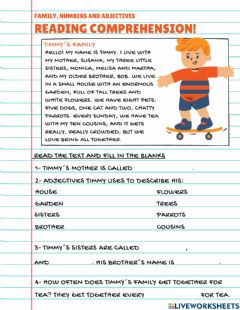 Interactive worksheet Reading Comprehension: Timmy-s family