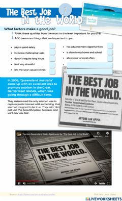 Interactive worksheet The Best Job in the World (part 1)
