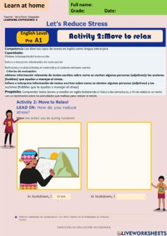 Interactive worksheet Let-s Reduce Stress Activity 2: Move to relax Pre A1