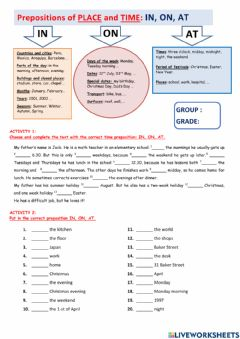 Ficha interactiva Prepositions of place and time