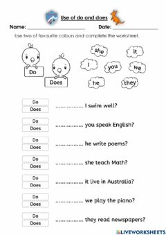 Interactive worksheet The use of do and does