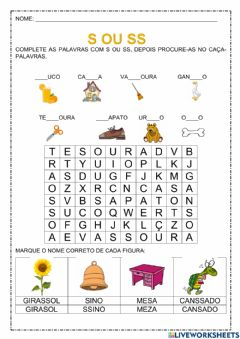 Interactive worksheet S ou ss