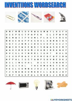 Interactive worksheet Inventions wordsearch tiger macmillan 6
