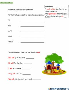 Ficha interactiva Contractions (with will)