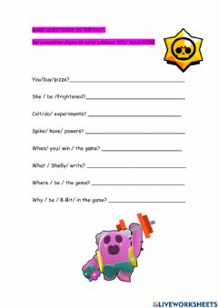 Interactive worksheet Making questions on the past