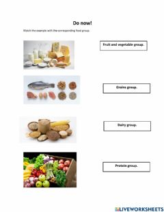 Interactive worksheet Do now - food groups