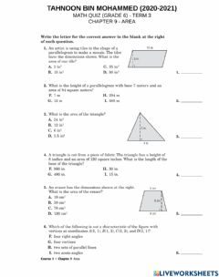 Interactive worksheet Chapter 9 - area - review worksheet