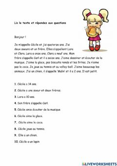 Interactive worksheet Compréhension ecrite A1
