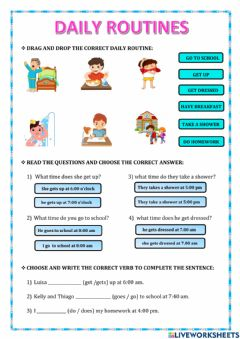 Interactive worksheet Simple present:daily routines