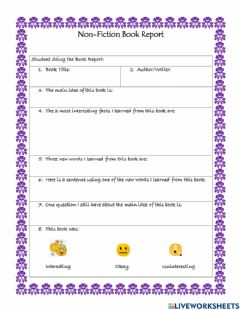 Interactive worksheet Non-Fiction Book Report