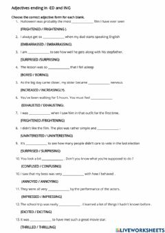 Interactive worksheet Adjective with ed-ing