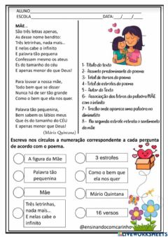 Interactive worksheet Dia das mães