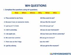 Interactive worksheet Wh questions in past