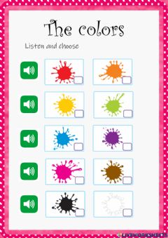 Interactive worksheet The colors