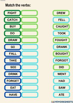 Interactive worksheet Irregular Past Tense Verbs Match