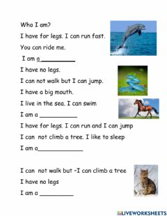 Interactive worksheet Who am I?