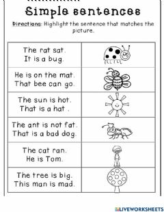 Interactive worksheet Simple sentences