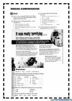 Interactive worksheet Reading comprehension - It was really terrifying