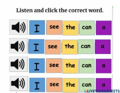 Interactive worksheet Sight words I, can, see, a