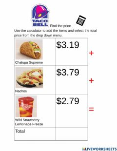 Ficha interactiva Find the Price Taco Bell
