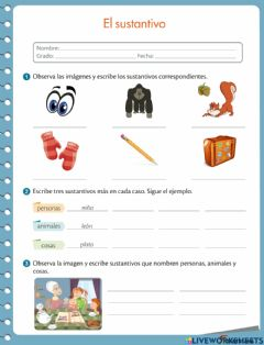 Interactive worksheet Sustantivo