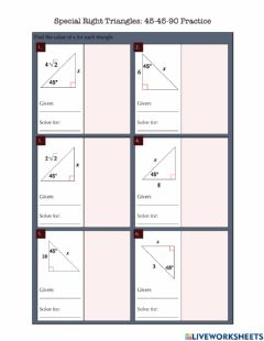 Interactive worksheet Special Right Triangles (45-45-90) Practice