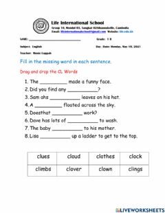 Interactive worksheet Consonant Blend CL Words
