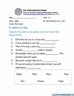 Interactive worksheet Consonant Blend FL Words