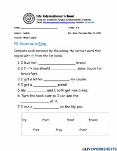 Interactive worksheet Consonant Blend FR Words