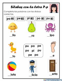 Interactive worksheet Silabas con P-p