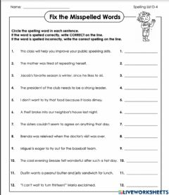 Interactive worksheet Find the errors d-4 5th grade