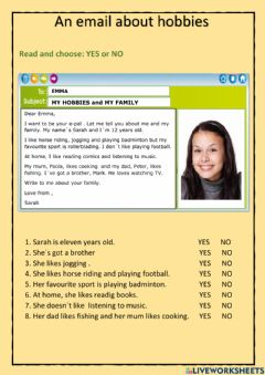 Interactive worksheet An email about hobbies
